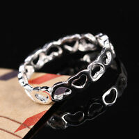 Solid 925 Sterling Silver Joined Hollow Heart Fully Adjustable Open Ring Gift