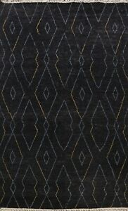 Geometric Modern Moroccan Berber Oriental Area Rug Plush Wool Hand-Knotted 8x10