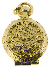 9Carat Yellow Gold Pocket Watch Charms Sand timer Hinged HM 1990