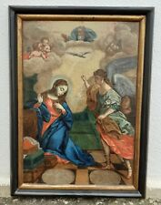ANTIQUE OIL PAINTING 18TH CENTURY PORTUGUESE SCHOOL ANNUNCIATION TO OR LADY