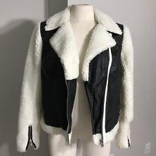 Women's I Love Ronson Faux Leather / Faux Shearling Black White Coat Size L NWT
