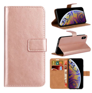 Rose Gold Case For iPhone 7 8 X 11 Pro Max Plus Luxury Leather Flip Wallet Cover