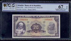 COLOMBIA  20  PESOS  1950  PICK # 392d  PCGS 67  SUPERB GEM UNC OPQ.