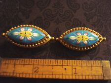 Shoe Buckle/Buttons Gold Tone Victorian Hand Painted Painted Porcelain