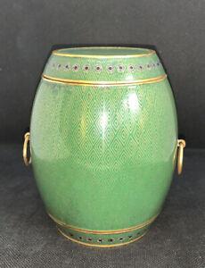 """Gorgeous Antique Green Cloisonné Jar Barrel Shape W Lid Gold diamond Shape 5""""T"""