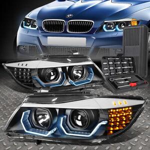 FOR 09-12 BMW 3-SERIES E90 4-DR LED 3D U-HALO PROJECTOR HEADLIGHT+TOOL SET BLACK