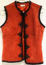 Etosha Red Suede Leather Vest Woman Sz S Cosplay Steampunk Hippy Mod Black Edge