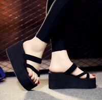 New Womens Platform Wedge Heel Flip Flops Platform Mules Slippers Shoes Sandals