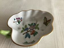 Herend Fine China Leaf Queen Victoria Butterfly Dish hand painted 4x3 Hungary