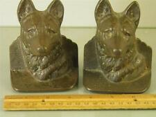 ANTIQUE BRONZED CAST IRON DOG GERMAN SHEPHERD BOOKENDS