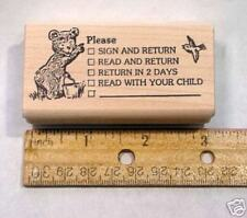Please Sign Teacher's Rubber Stamp, wood mounted