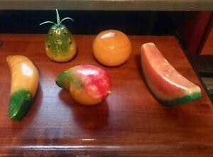 5 Vintage Stone Alabaster Marble Fruit Pineapple Orange Watermelon Banana Mango