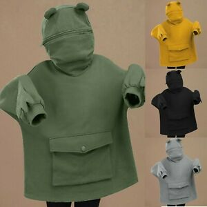 Women's Stitching Three-Dimensional Pocket Cute Frog Pullover Sweatershirt
