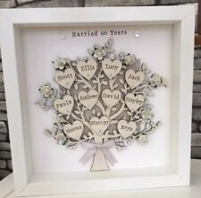 60th Diamond Wedding Anniversary Personalised Family Tree Grandparents Gift 💍