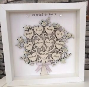 60th Diamond Wedding Anniversary Personalised Family Tree Grandparents Gift