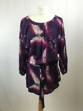 TU Ladies tunic long sleeve purple feather print viscose size 14 new with tags 0