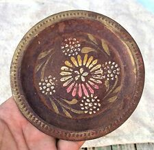 VINTAGE RARE BEAUTIFUL HAND PAINTED FLOWERS TIN WALL DECORATIVE PLATE