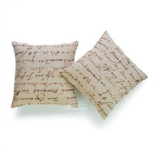 2Pcs Throw Pillow Case Vintage French Country Script Paper Cushion Cover Set