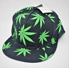 Black Green Marijuana Cannabis Weed Pot Leaf Leaves Snap Back Ball Cap Hat