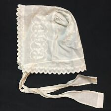 Antique Sleep Bonnet Night Cap Embroidered Edge Trim Chin Ties Lightweight Beige