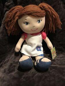 """Plush Doll w/ White  Dress Yarn Hair  Rag Doll 15"""" Age 3+"""