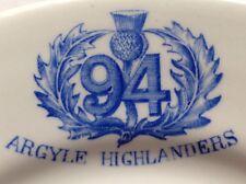 94th Victoria Regiment Argyll Highlanders Restaurant Ware Plate, Wwi Canada