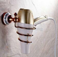 Luxury Rose Gold Wall-mounted Hair Dryer Bathroom Shelf Storage Hairdryer holder