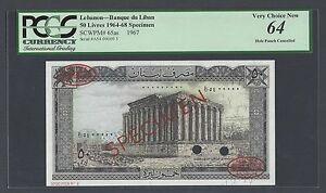 Lebanon 50 Lira 1-1-1967 P65as  Specimen TDLR Uncirculated