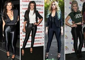 Womens American Apparel Style Shiny High'w Disco Pants, 8,10,12,14 Black/Grey
