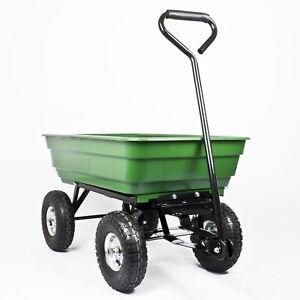 GARDEN DUMP TROLLEY Heavy Load Gravel Soil Cart Tipping Wheelbarrow Tip Truck