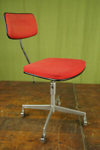 60er Vintage Office Chair Swivel Chair Desk Chair Architects Red 70er