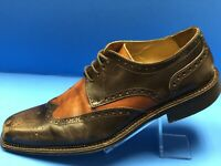 Mercanti Fiorentini Men's Size 8.5 Brown Black Wingtip Shoes Made in Italy    12