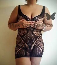PLUS SIZE Fishnet Mini Dress #390 Black One Size fits 24W Big Tall Sexy LINGERIE