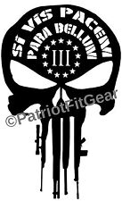 Punisher Skull,Skull,Si Vis Pacem Para Bellum,3%,Molon Labe,2A,DTOM,Vinyl Decal