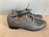 BNWT Ladies Sz 9 Rivers Brand Grey Casual Leather look Lace up Work Dress shoes