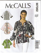 Wide Raglan Sleeve Loose Fit Tops Jackets McCalls Sewing Pattern L XL XXL 16-26