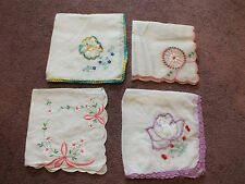 Ladies Handkerchief Set 4 Crocheted Embroidered Appliqued One Original Label