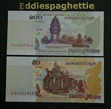 cambodia 50&100 riels 2001-2002 P-52-53 UNC