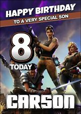 FORTNITE Personalised Birthday Card A5 Fortnight Gamer Online Battle Game MMO