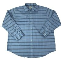 St. Johns Bay Mens Size 2XLT Tall Blue checks Long Sleeve Button Front Shirt