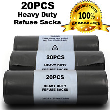 More details for 100g heavy duty black refuse sacks thick rubbish bags bin liners strong rolls