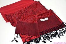 Pashmina Shawl Scarf Cashmere Paisley Fringe Red Black Hearts Knit 28 x 70 Wrap