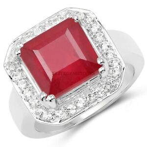 Natural Ruby Gemstone with 925 Sterling Silver Ring for Women's #6215