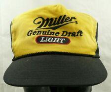 Miller Genuine Draft Light Beer Embroidered Logo Hat Black Yellow Snapback