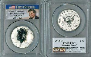 2014-W PCGS PR69 SILVER FIRST STRIKE Kennedy MAC Reverse Proof JFK Half,50 Anniv