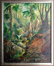 Südamerika Tropenwald mit Palmen, Öl/Leinwand von J. MARKHAM 1970er Jahre selten