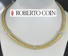 Roberto Coin 18K ORO GIALLO pavé di diamanti 10mm SETA COLLANA GIROCOLLO