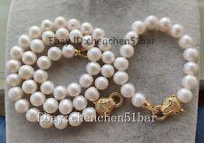 kultiviert 11-12mm weiß Süßwasserperle Tiger Kopf Halskette Armband 18/8 zoll