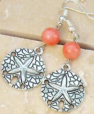 "FREE SHIP Genuine Pink Coral Starfish Sand Dollar Pierced Earrings 2"" *Beach"