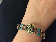 Michal Golan Vintage crystal + turquoise bracelet Handmade